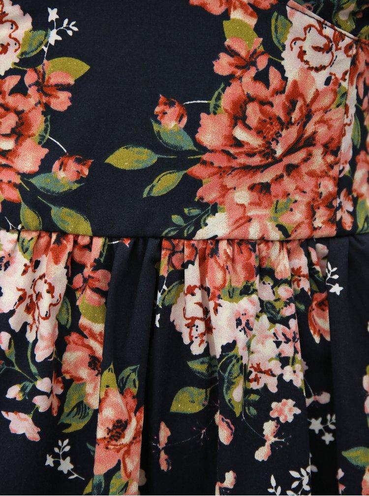 Tmavě modré květované šaty na raminka Haily´s Giulia
