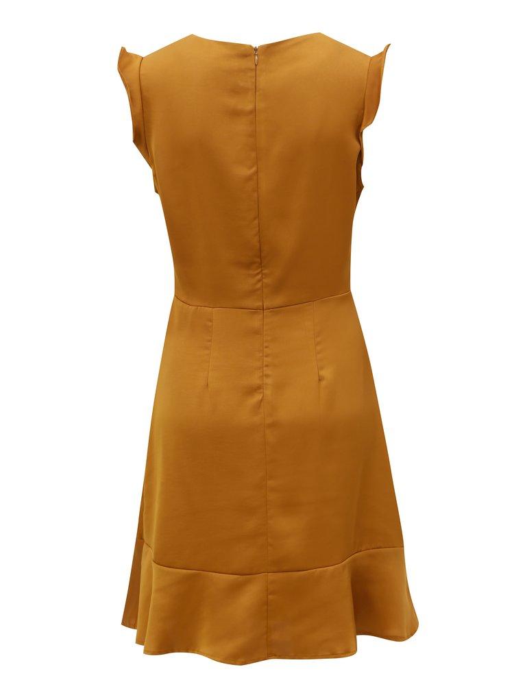 Hořčicové šaty s volány VILA Vicause