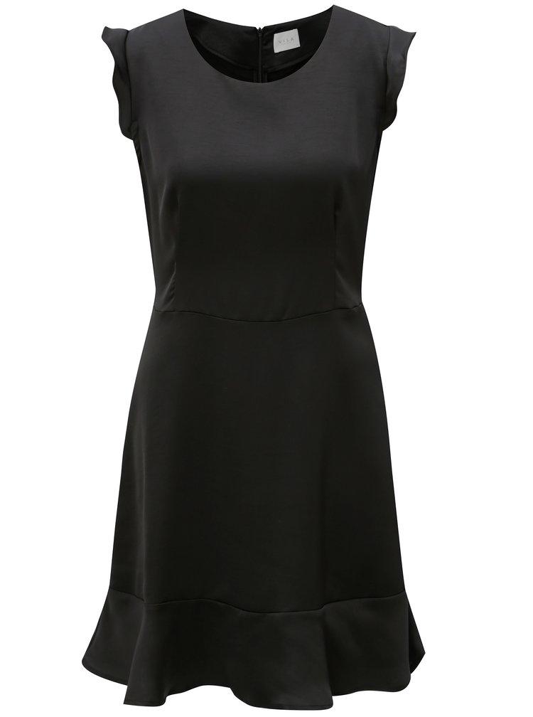 Černé šaty s volány VILA Vicause
