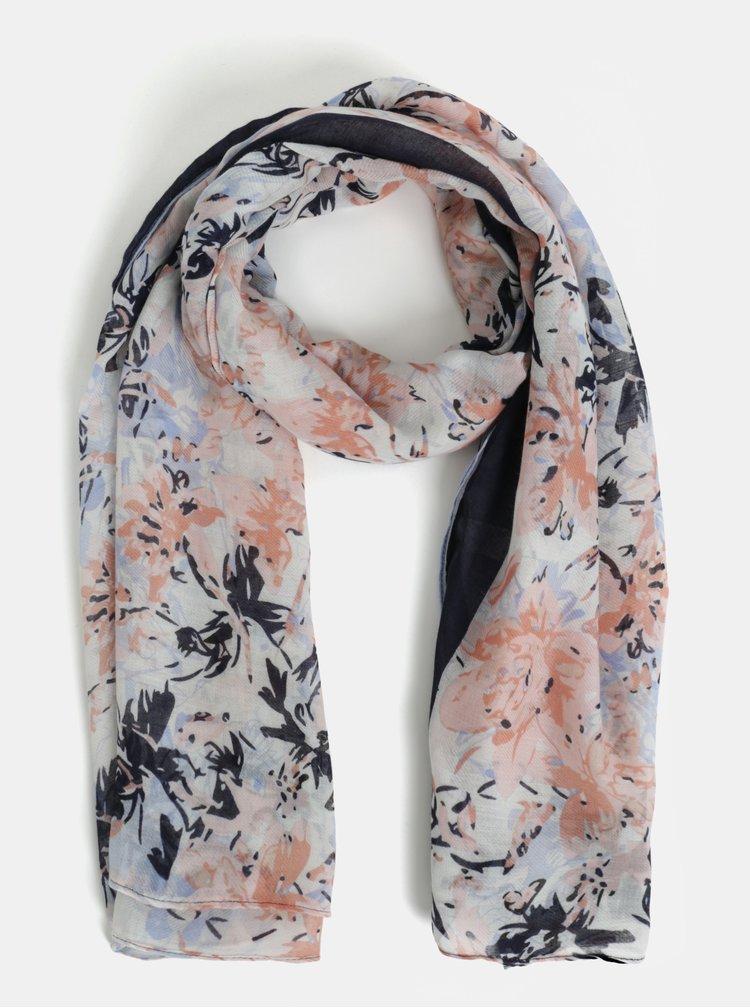 Ružovo-biela kvetovaná šatka Pieces