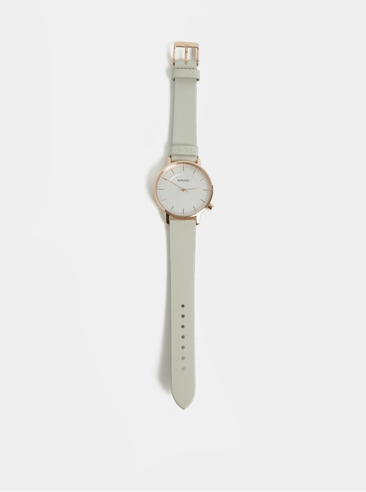 Dámské hodinky se světle šedým koženým páskem Komono The Harlow