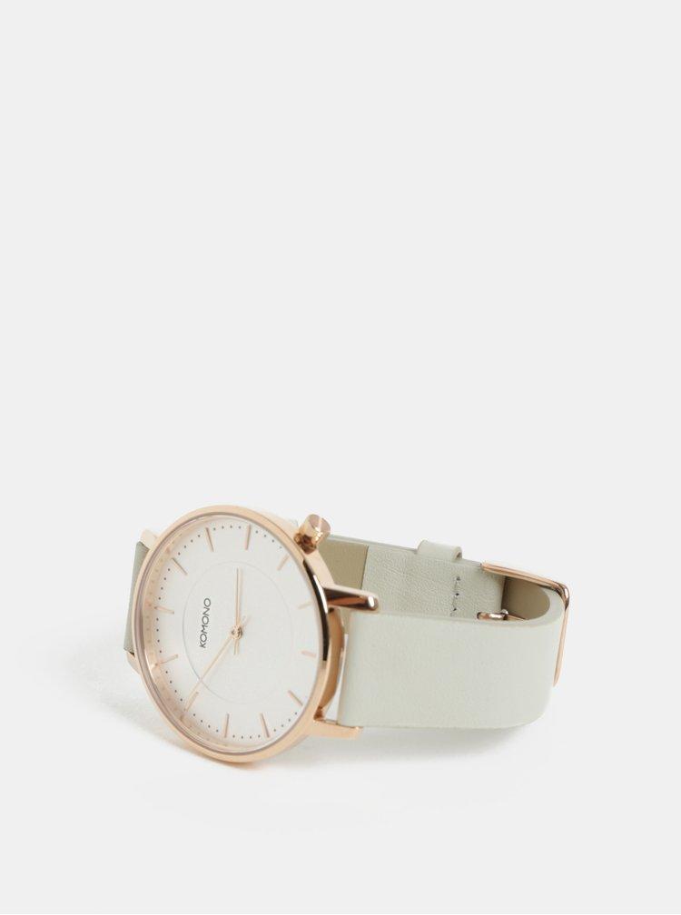 Světle šedé dámské hodinky s koženým páskem Komono The Harlow