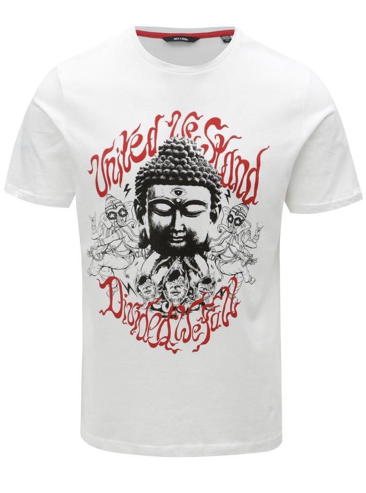 Bílé tričko s potiskem ONLY & SONS