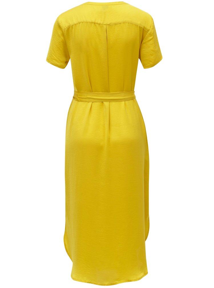 Žluté košilové midišaty s páskem VERO MODA Alba