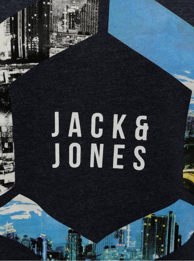 Tmavě modré žíhané tričko Jack & Jones