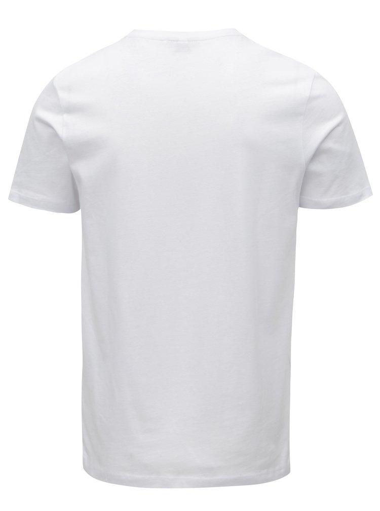 Bílé tričko s barevným potiskem Jack & Jones