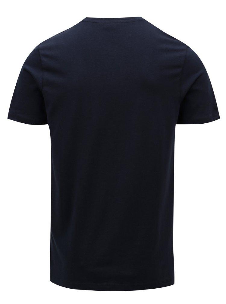 Tricou albastru inchis cu print colorat Jack & Jones