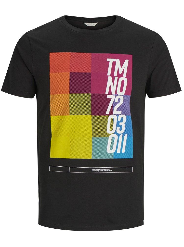 Černé tričko s barevným potiskem Jack & Jones
