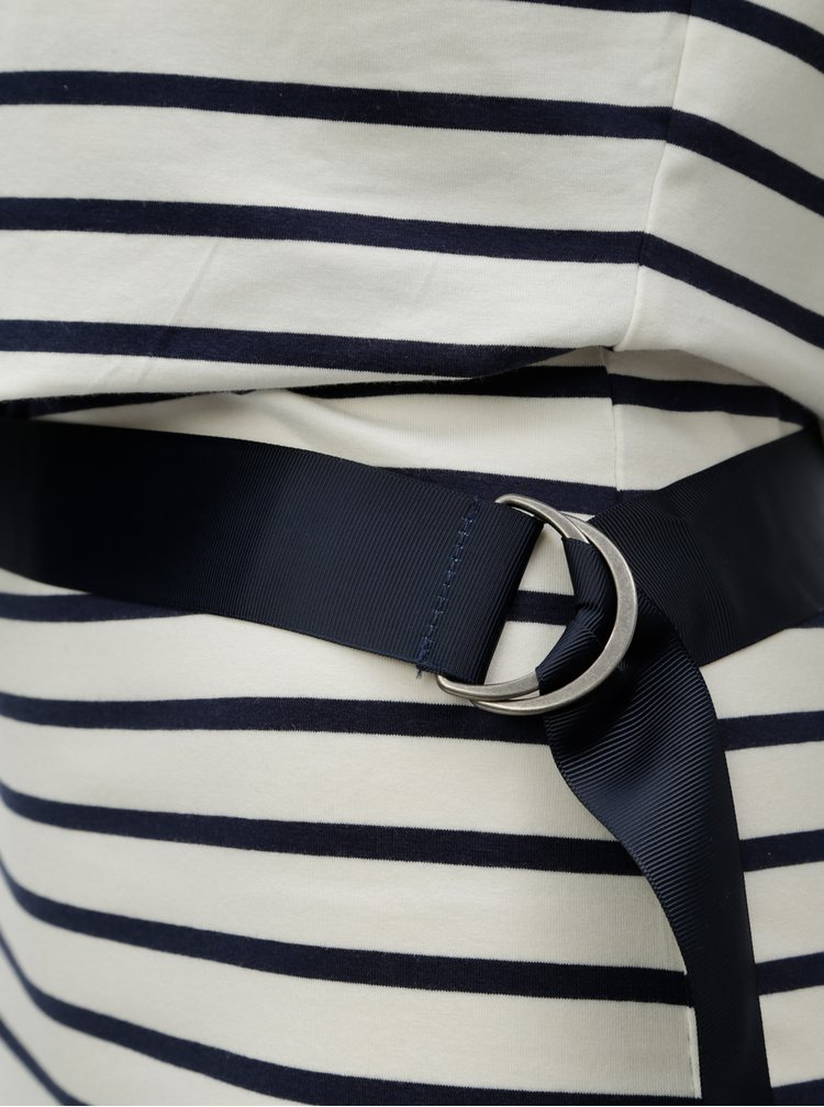 Modro-bílé pruhované pouzdrové midišaty s páskem Garcia Jeans