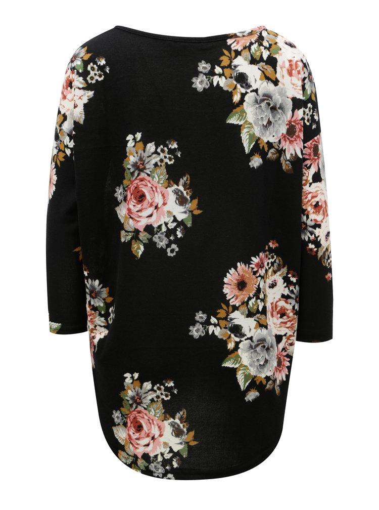 Černé vzorované oversize tričko s 3/4 rukávem ONLY Elcos