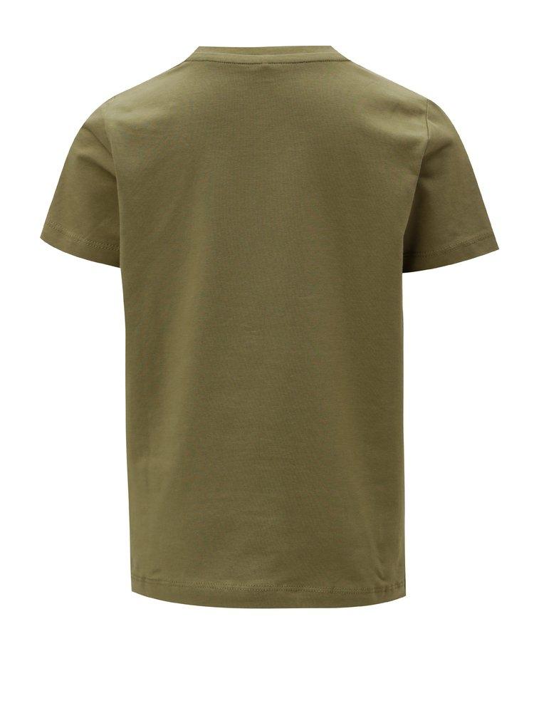 Khaki dětské tričko s magickými flitry Name it Lipon