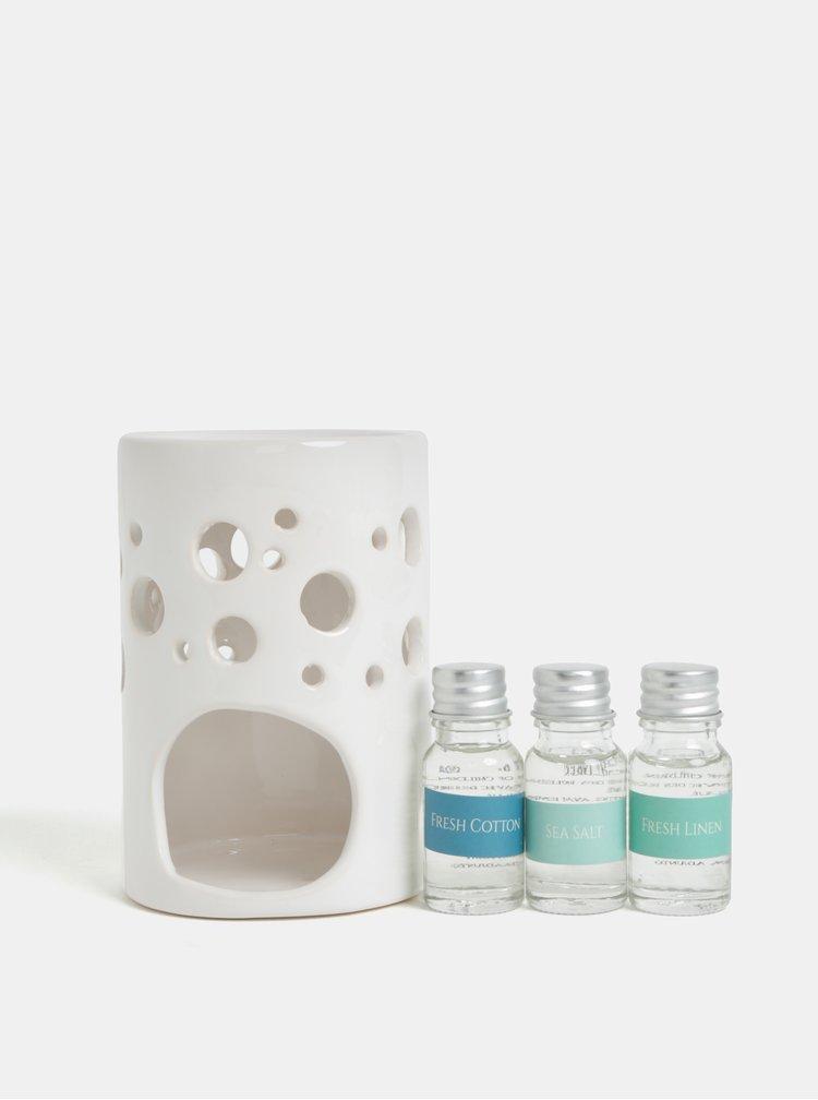 Cutie cadou cu lampa ceramica si uleiuri parfumate de in, bumbac si sare de mare - SIFCON