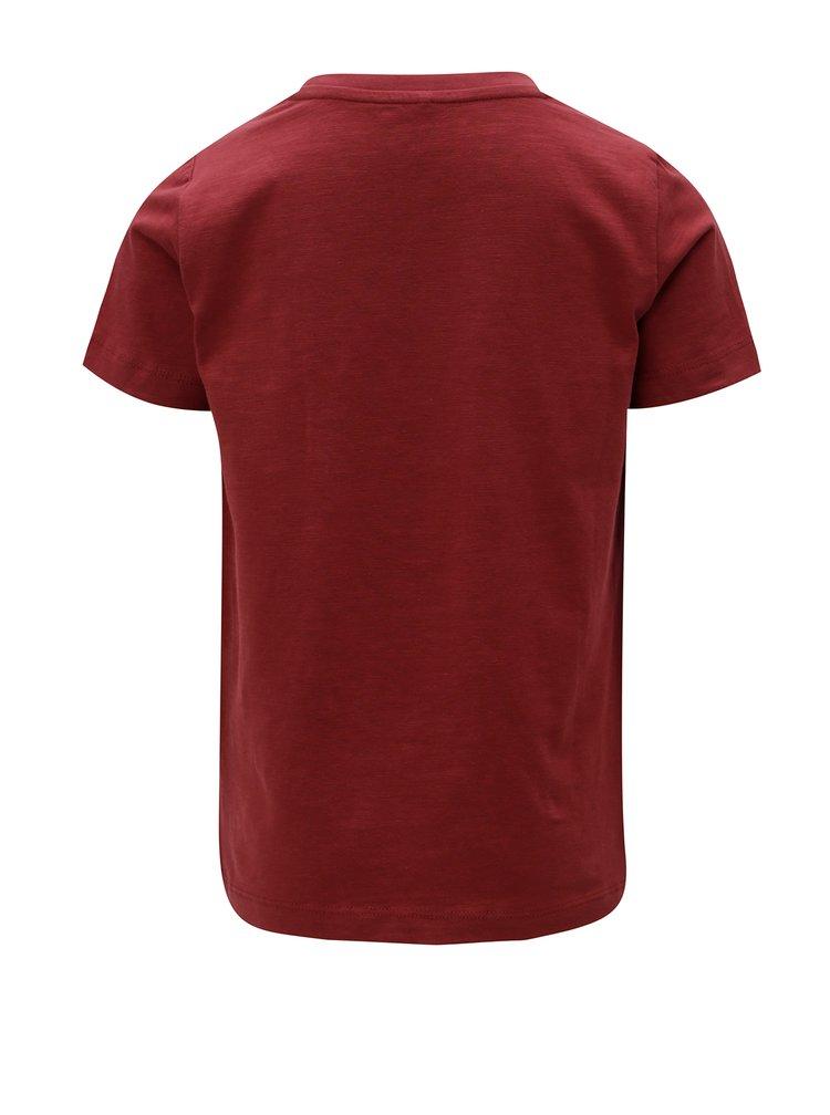 Vínové klučičí tričko s potiskem Name it Sripus