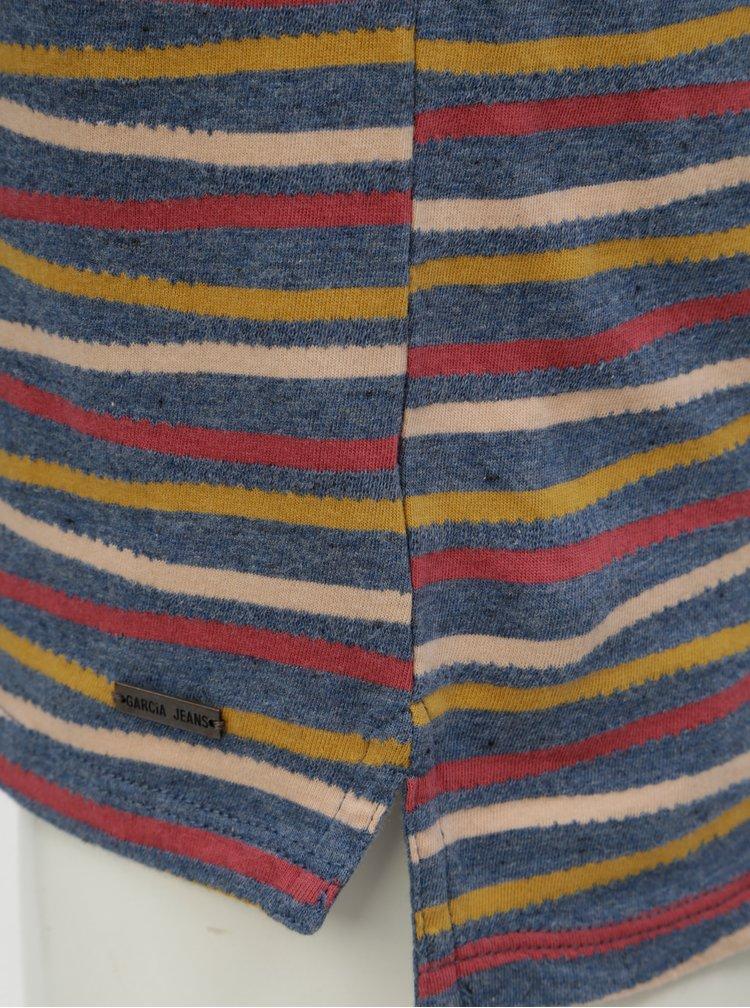 Žluto-modré pánské pruhované tričko Garcia Jeans