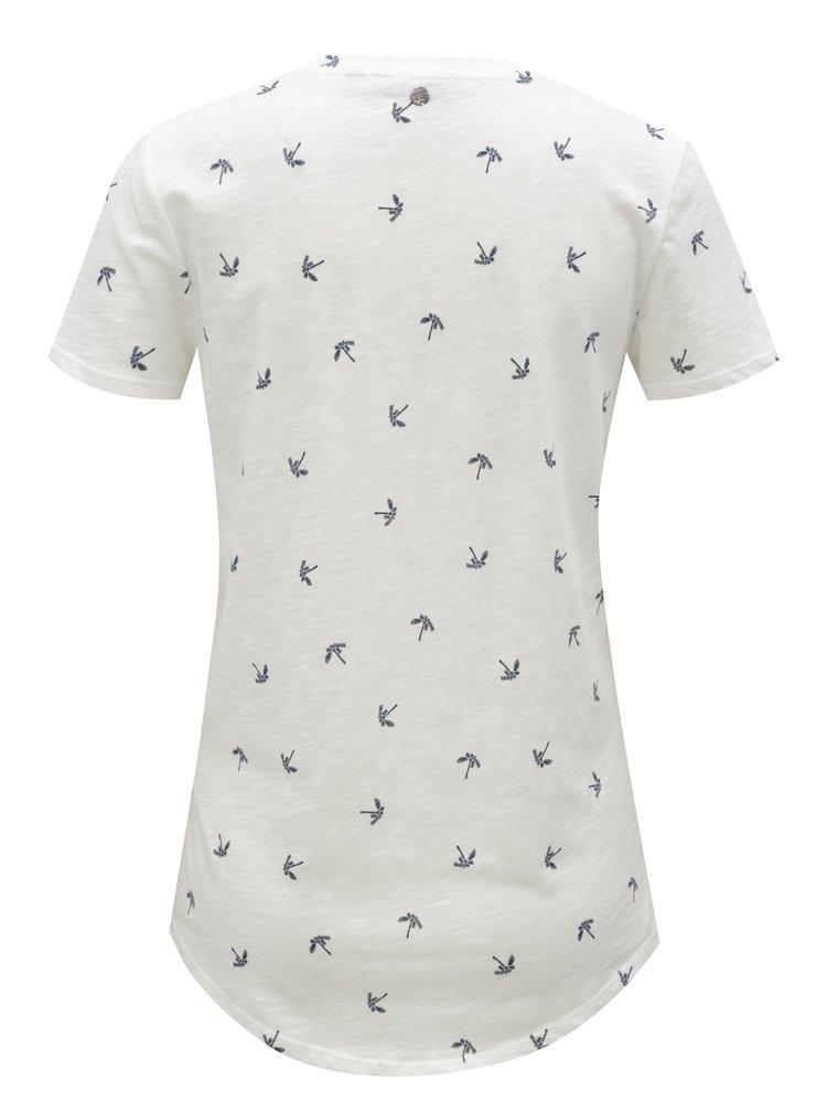 Bílé dámské tričko s motivem palem Garcia Jeans