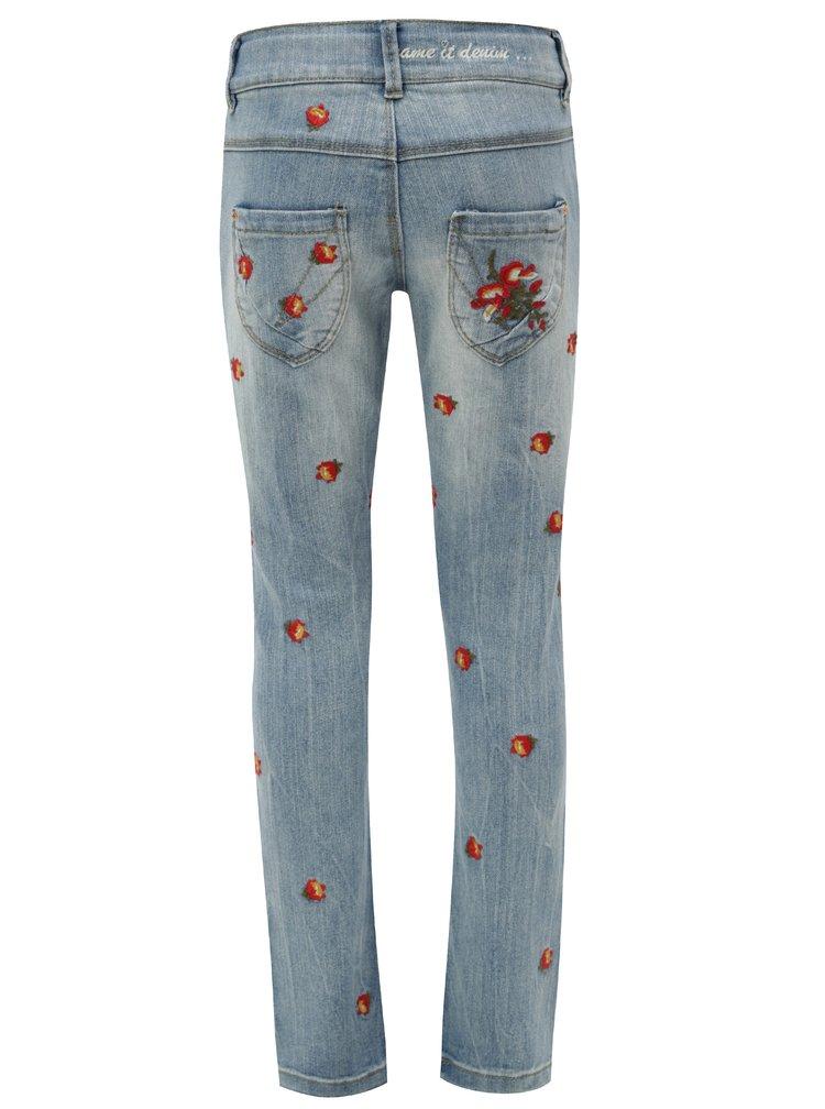 Modré holčičí džíny s výšivkou Name it Frose