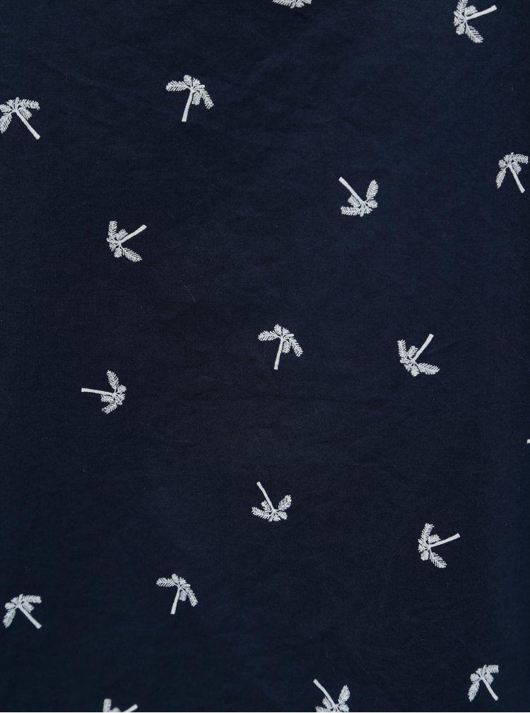 Tmavě modrý vzorovaný top s odhaleným rameny Garcia Jeans