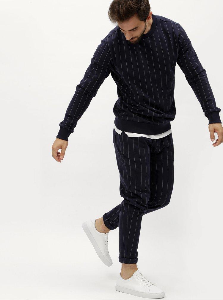 Tmavě modrá pánská pruhovaná mikina Calvin Klein Jeans Hespero