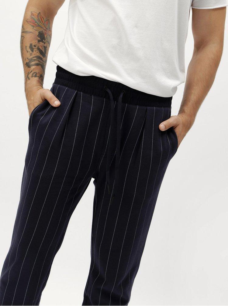 Tmavě modré pánské pruhované tepláky Calvin Klein Jeans Hespero