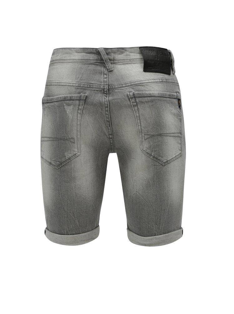 Šedé pánské džínové kraťasy s vyšisovaným efektem Garcia Jeans Russo short