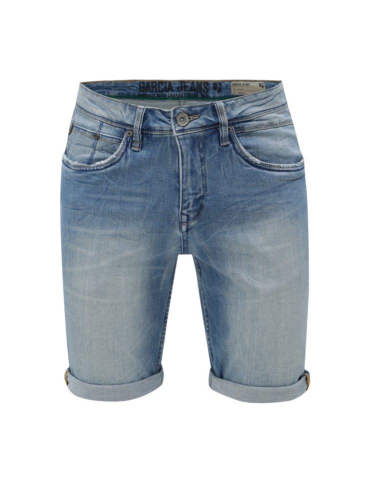 Modré pánské džínové kraťasy s vyšisovaným efektem Garcia Jeans