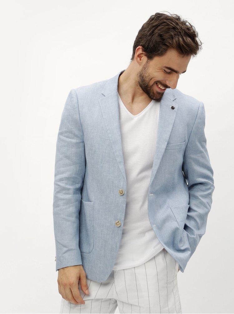 Světle modré lněné žíhané sako Burton Menswear London