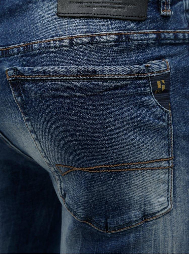 Tmavomodré pánske rifľové kraťasy s vyšúchaným efektom Garcia Jeans Russo short