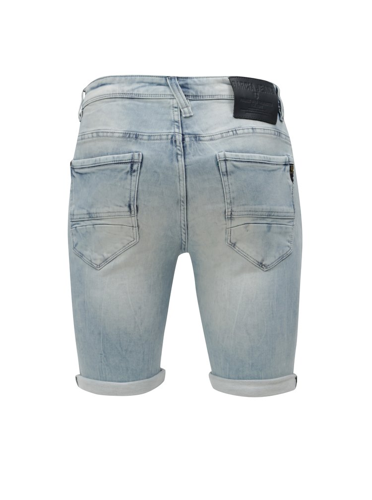 Pantaloni barbatesti scurti albastru deschis slim din denim cu aspect prespalat Garcia Jeans Savio