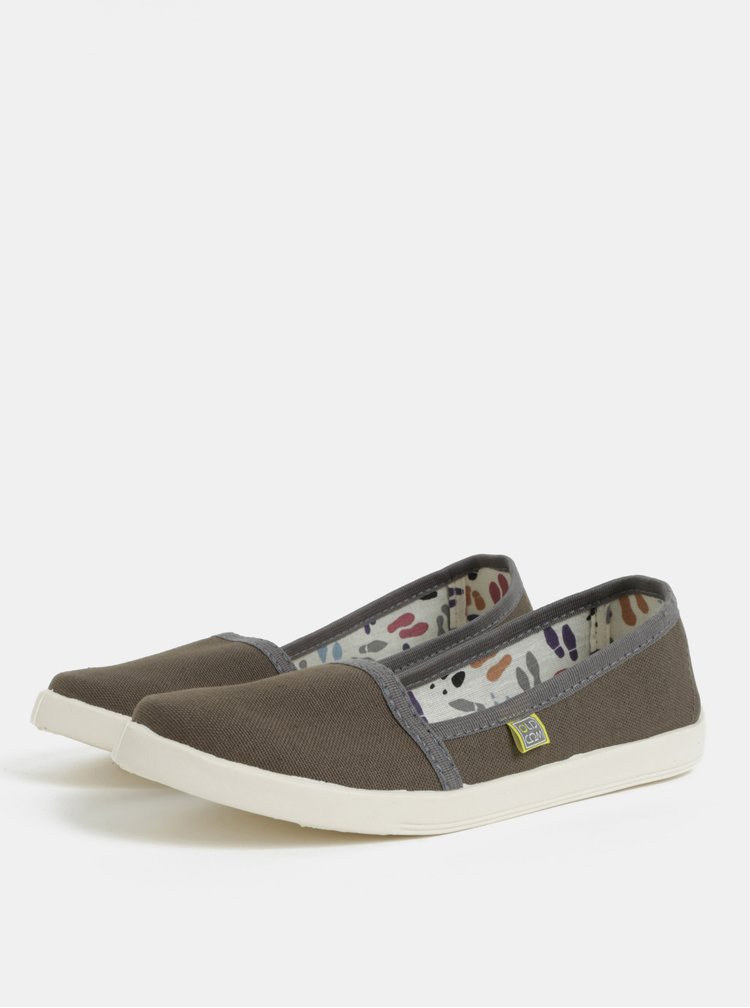 Pantofi de dama slip on kaki Oldcom Canvas