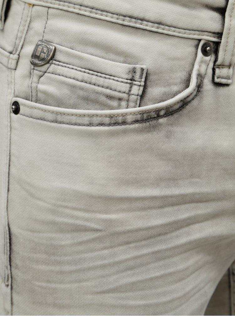 Světle šedé pánské džínové slim kraťasy s vyšisovaným efektem Garcia Jeans Savio