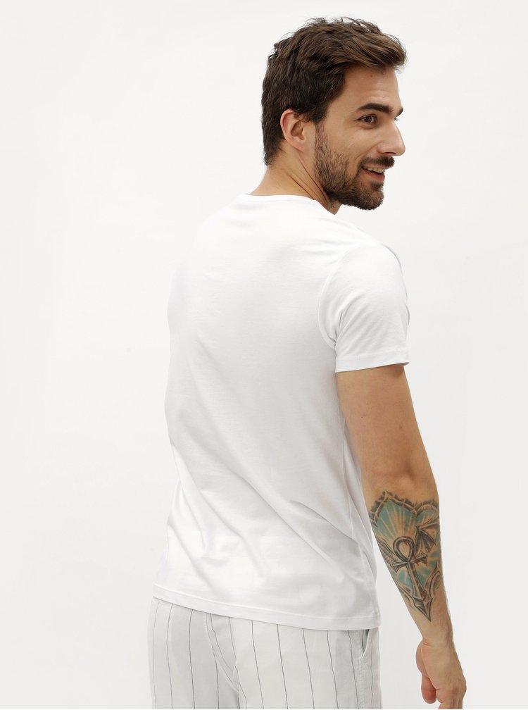 Bílé pánské tričko s véčkovým výstřihem Stanley & Stella