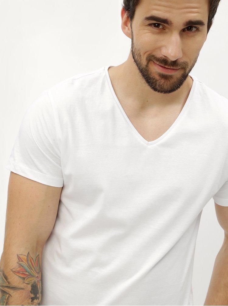 Bílé pánské basic tričko s véčkovým výstřihem Stanley & Stella
