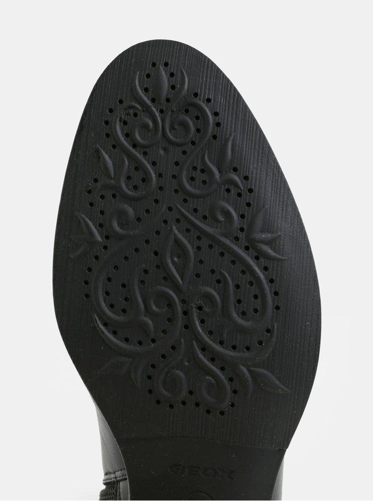 Černé kožené kozačky Geox
