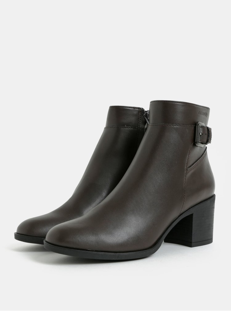 Tmavě hnědé dámské kotníkové boty na vysokém podpatku Geox