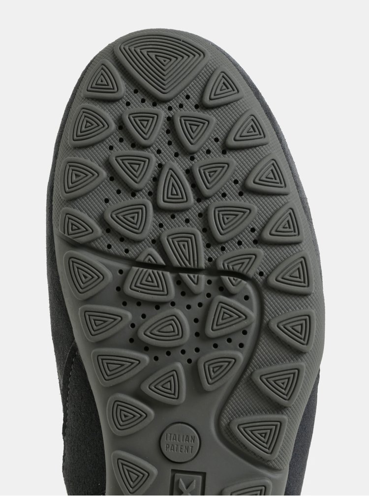 Tmavě šedé pánské nízké tenisky se semišovými detaily Geox
