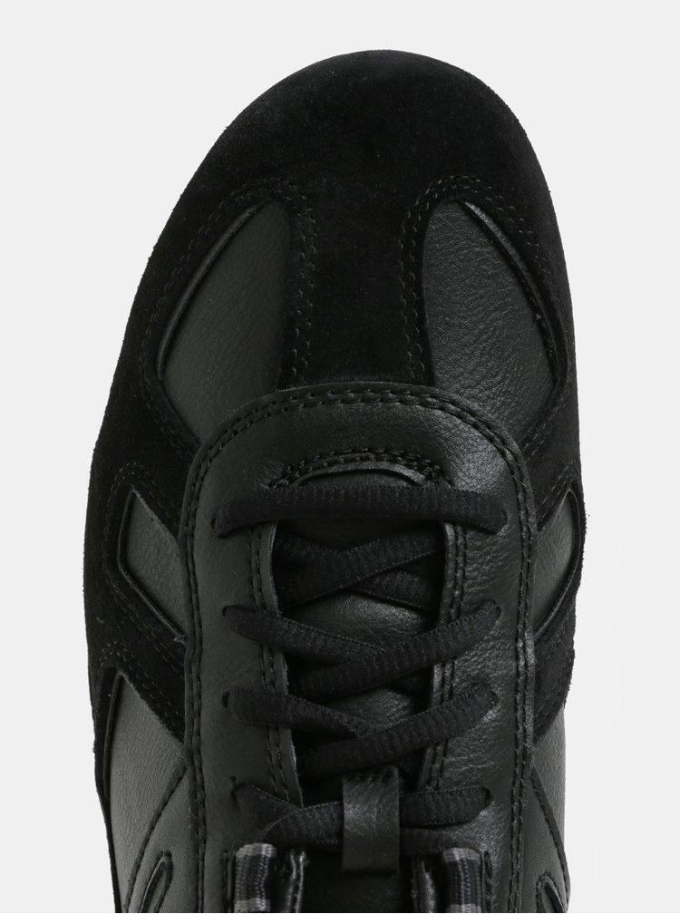Černé pánské nízké tenisky se semišovými detaily Geox