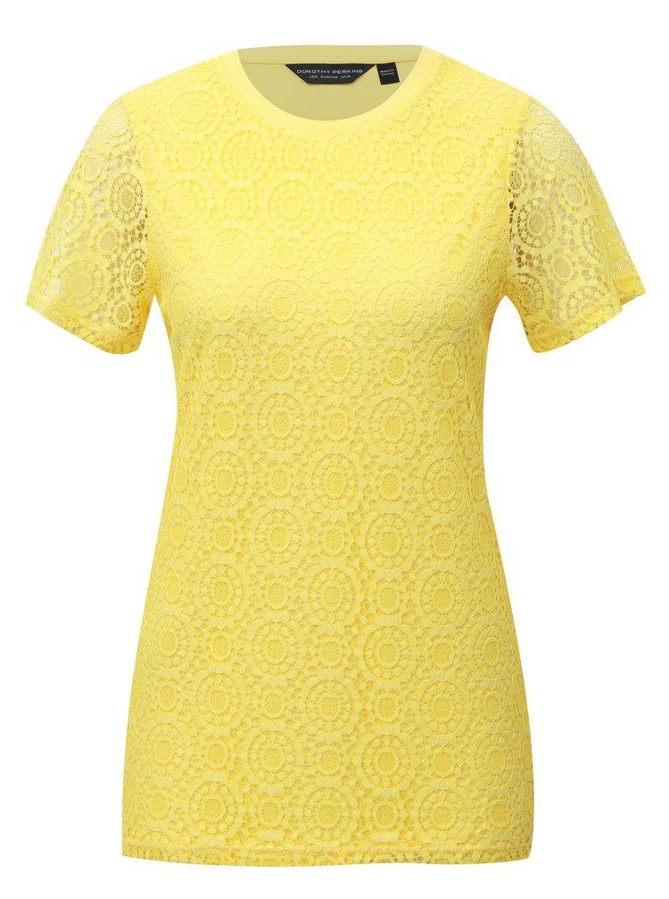 Žluté krajkové tričko s krátkým rukávem Dorothy Perkins