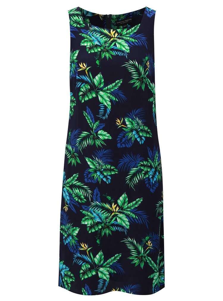 Tmavě modré šaty s tropickým vzorem Dorothy Perkins