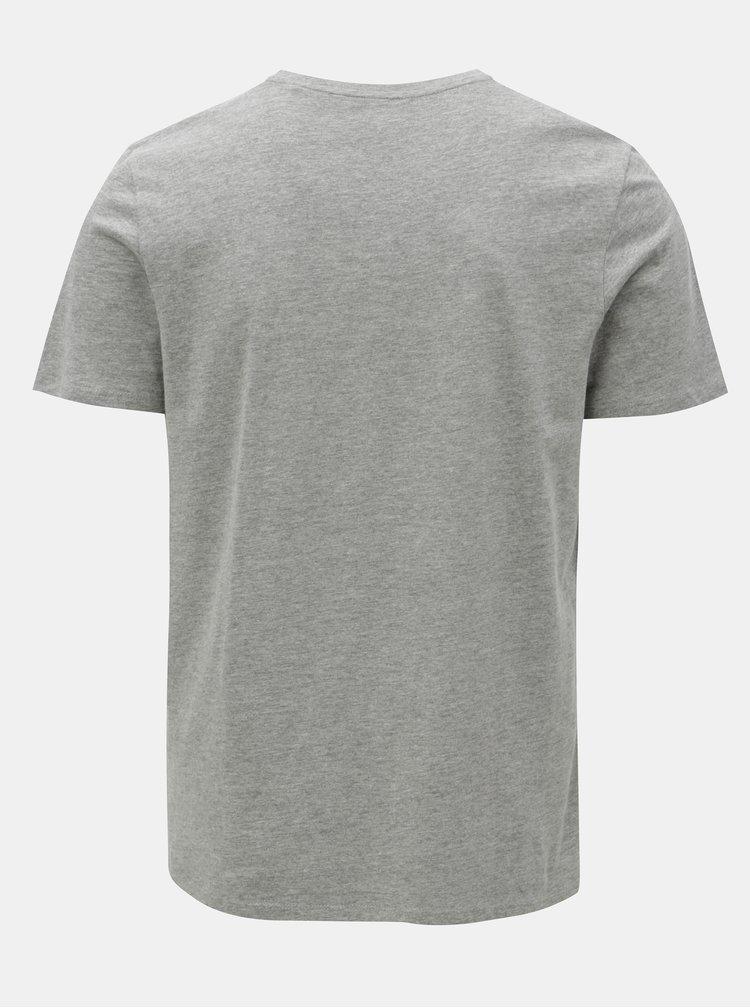 Šedé žíhané tričko s potiskem Jack & Jones Logo Tee