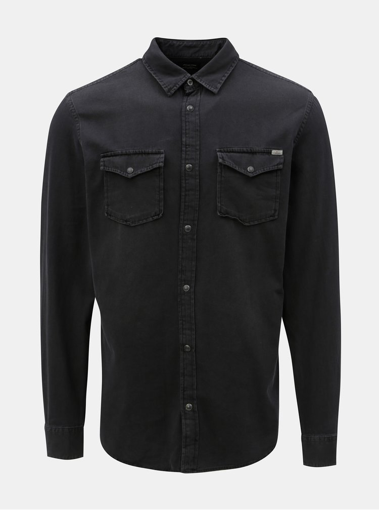 Čierna rifľová košeľa Jack & Jones