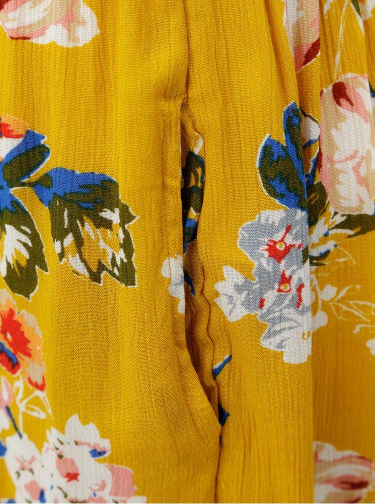 Hořčicový květovaný overal s volány Dorothy Perkins