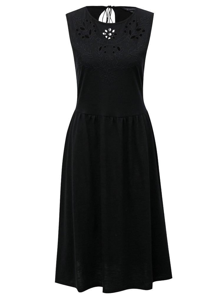 Černé šaty s madeirou a průstřihem na zádech Dorothy Perkins