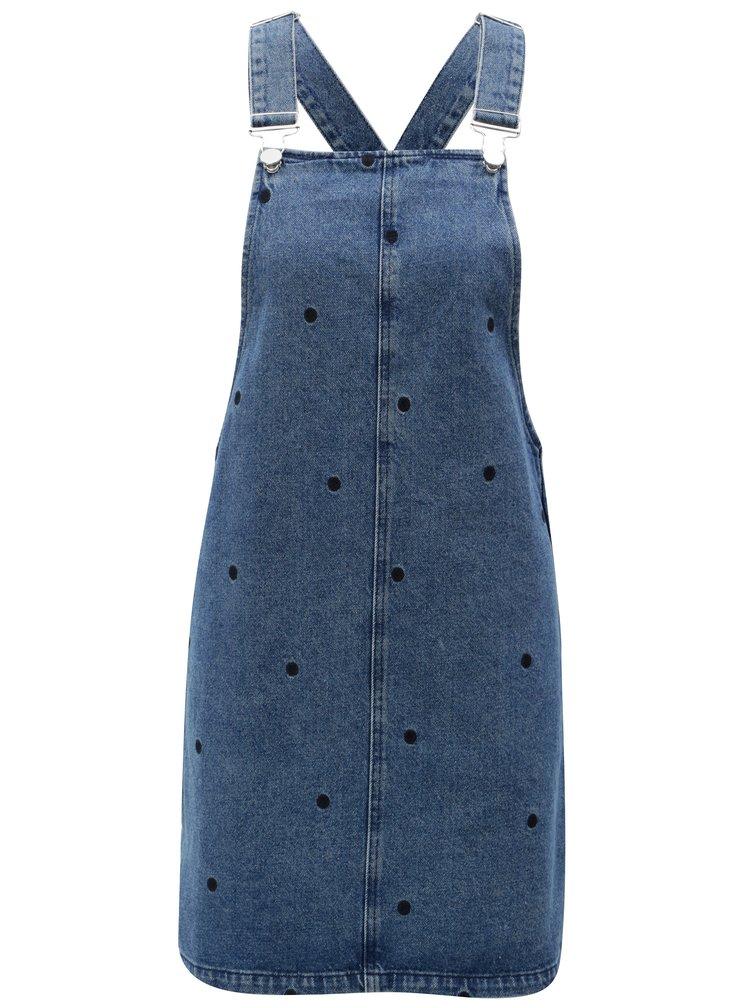 Modré džínové šaty s laclem a puntíky Dorothy Perkins