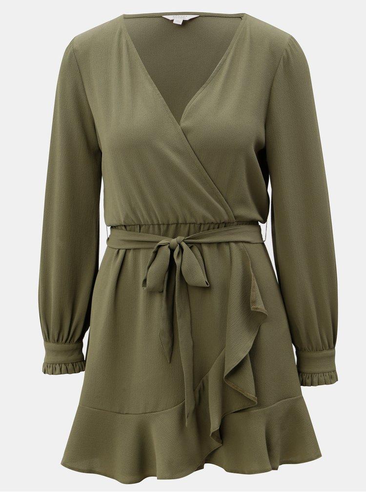 Khaki šaty s překládaným výstřihem Miss Selfridge Petites