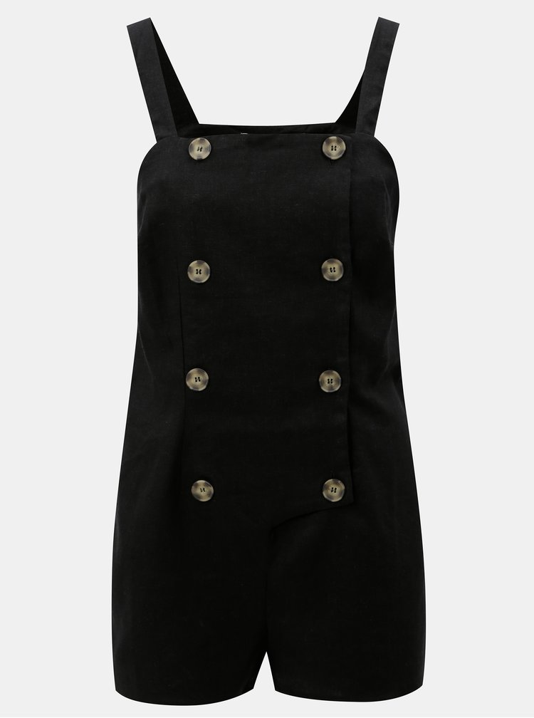 Černý krátký lněný overal Miss Selfridge Petites