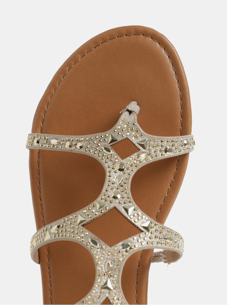 Béžové sandálky s detailmi v zlatej farbe Dorothy Perkins