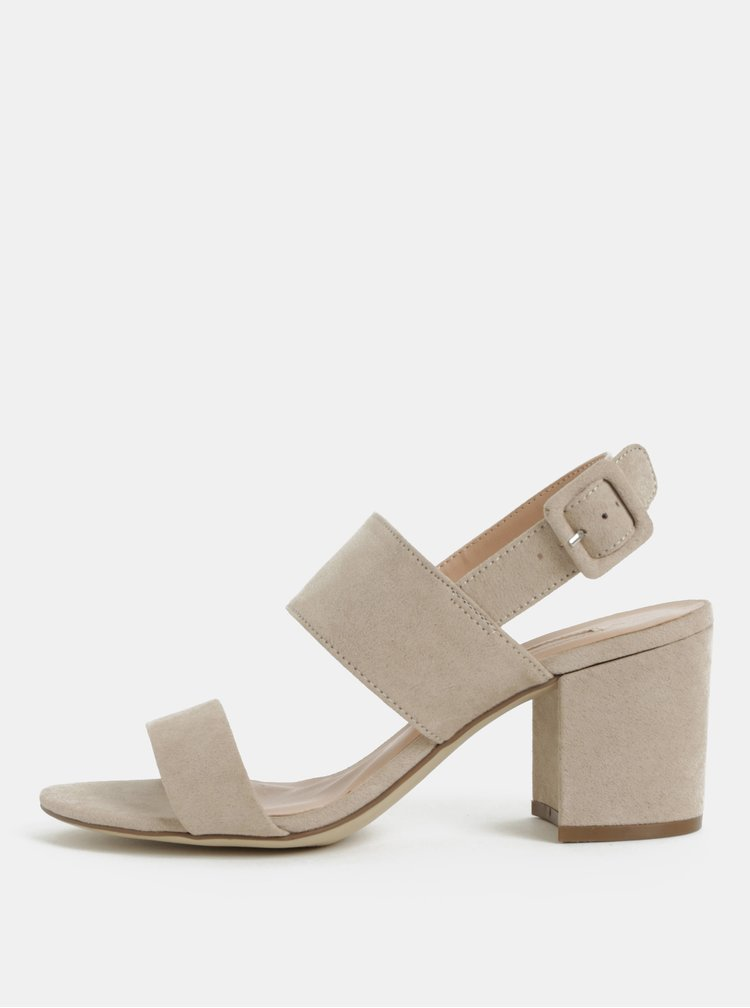 Béžové sandálky v semišové úpravě na podpatku Dorothy Perkins