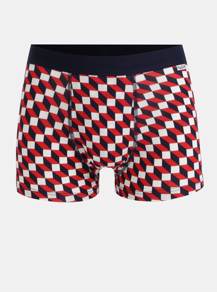 Modro-červené vzorované boxerky Happy Socks Filled Optic