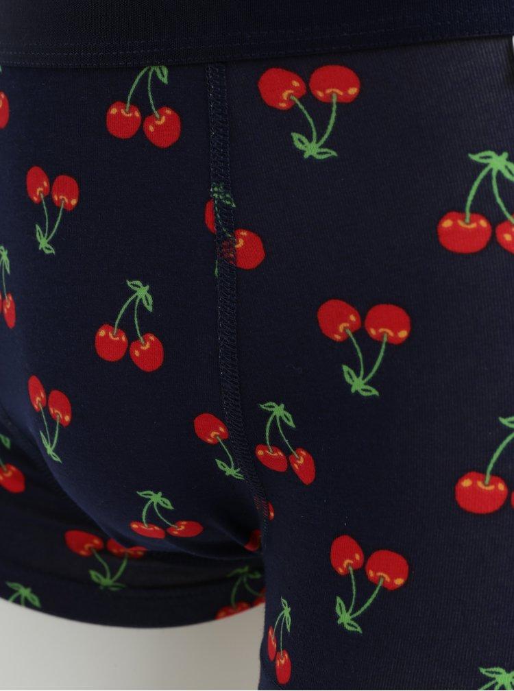 Modré vzorované boxerky Happy Socks Cherry