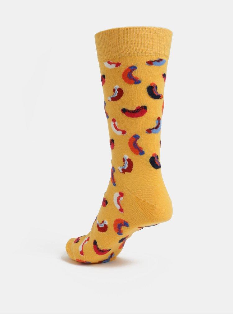 Žluté pánské vzorované ponožky Happy Socks Hotdog